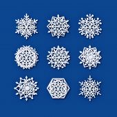 Vector Snowflakes Collection. Paper Snowflake Shapes. Symmetric Papercut Snow Flake Silhouette Isola poster