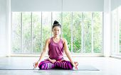 Asian Women Workout Practicing Yoga Training Put On Pink Clothes And Practice Meditation Wellness Li poster