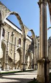 picture of carmelite  - Carmo convent church ruins in Lisbon Portugal - JPG