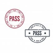 Pass Or Passed Grunge Round Vintage Rubber Stamp Vector Image poster