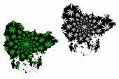 South Gyeongsang Province (south Korea, Republic Of Korea, Rok) Map Is Designed Cannabis Leaf Green  poster