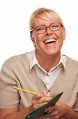 Laughing Woman With Pencil & Folder