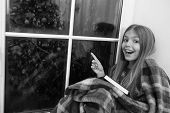 Look There. Happy Small Reader Point Finger At Window. Small Girl Enjoy Reading Christmas Story Wrap poster