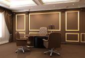 Furniture In Wooden Office Interior