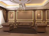 Luxe. Golden Decorative And Modern Chesterfield Sofa With Armchairs In Royal Apartment Interior. Cha