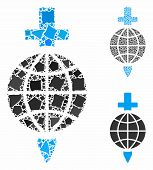 Global Safety Mosaic Of Bumpy Pieces In Different Sizes And Color Hues, Based On Global Safety Icon. poster