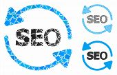 Seo Process Composition Of Ragged Parts In Variable Sizes And Color Tints, Based On Seo Process Icon poster