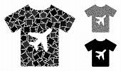 Man T-shirt Mosaic Of Raggy Parts In Different Sizes And Color Tinges, Based On Man T-shirt Icon. Ve poster