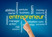 foto of enterprise  - Hand pointing at a Entrepreneur word illustration on blue background - JPG
