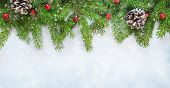 Beautiful Wide Angle Christmas Background With Fresh Fir Tree. Top Frame Of Christmas Tree Branches  poster