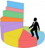 Business person climbs up 3D pie chart data as stairs