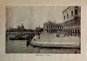 Italy - Circa 1910: A Picture Printed In Italy Shows Image Of  Embankments In Venice, Vintage Postca