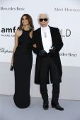 ANTIBES  - MAY 24: Carine Roitfeld, Karl Lagerfeld at the 2012 amfAR's Cinema Against AIDS at Hotel Du Cap on May 24, 2012 in Antibes, France