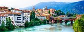 Beautiful medieval towns of Italy -picturesque  Bassano del Grappa with famous bridge,  Vicenza prov poster