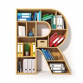 Letter R. Alphabet in the form of shelves with file folder, binders and books isolated on white. Arc poster