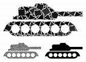 Military Tank Mosaic Of Abrupt Elements In Various Sizes And Color Hues, Based On Military Tank Icon poster