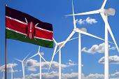 Kenya Alternative Energy, Wind Energy Industrial Concept With Windmills And Flag - Alternative Renew poster