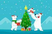 Polar Bear Family Decorating Christmas Tree.christmas Cartoon Illustration. poster