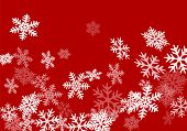 Snow Flakes Falling Macro Red White Vector Graphics, Christmas Snowflakes Confetti Falling Scatter B poster