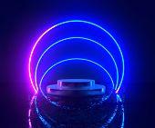 3d Rendering, Neon Light, Glowing Lines, Ultraviolet, Stage, Portal, Circle Portal, Pedestal, Virtua poster