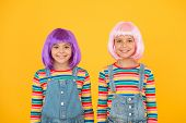 Ultra Modern Girls. Happy Girls With Straight Short Hairstyle In Casual Style. Cute Little Girls Smi poster