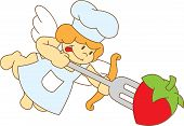 Cute Cartoon Chef Cupid With A Fork
