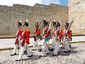 historic soldiers marching