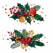 Watercolor Christmas Set Of Boutonnieres With Winter Plants And Christmas Toys. Hand Drawn Christmas poster
