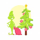 Grinch In Room Steal Santas Bag With Gifts , Christmas Tree Greeting Card poster