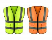 Set Of Realistic Reflective Orange Vest Or Green Construction Jacket. Clothing Form Or Safety Cloth, poster