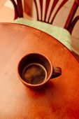 Cup Of Coffee On Vintage Wooden Table. Cup Of Coffee In A Brown Cup On A Wooden Table. Table And Cha poster