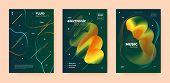 Techno Music Poster. Abstract Gradient Blend. Night Club Festival. Dj Invitation. Green Dance Music  poster