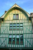 Historic Half-timbered Tenement House In Old Town Of Troyes, France poster