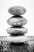 Pyramid Of The Stones,black And White. Zen Stone, Meditation Concept, Zen Lifestyle. poster