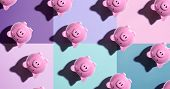 Upside Down Piggy Bank Pattern - Overhead View Flat Lay poster