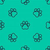 Blue Line Paw Print Icon Isolated Seamless Pattern On Green Background. Dog Or Cat Paw Print. Animal poster