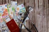 Hungarian Passports Of Money Us Dollar Bills And Hungarian Banknotes Forints With Medical Stethoscop poster