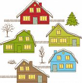 Hand drawing winter houses isolated. Vector illustration.