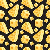 Seamless Pattern Of Square And Triangular Slices Of Yellow Cheese In Vector. Swiss Cheese Background poster