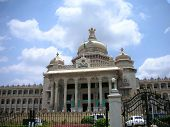 image of vidhana soudha  - Closeup view of the famous Vidhana Soudha the Legislature and Secretariat building in Bangalore city Karnataka State India - JPG