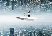 Happy Aviator Driving Paper Plane. Two Modern Urban Worlds Located Upside Down To Each Other. Funny  poster