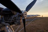 Propeller And Internal Combustion Engine Of An Ultralight Aircraft, Close-up. poster