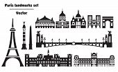 Vector Set Of  Landmarks Of Paris. Vector Illustration In Black And White Colors Isolated On White B poster