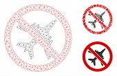 Mesh No Airplane Model With Triangle Mosaic Icon. Wire Frame Polygonal Mesh Of No Airplane. Vector M poster