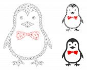 Mesh Penguin Bow Model With Triangle Mosaic Icon. Wire Frame Polygonal Mesh Of Penguin Bow. Vector M poster
