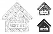 Mesh Rent Me Model With Triangle Mosaic Icon. Wire Carcass Triangular Mesh Of Rent Me. Vector Mosaic poster