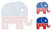 Mesh Republican Elephant Model With Triangle Mosaic Icon. Wire Frame Polygonal Network Of Republican poster