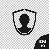 Black User Protection Icon Isolated On Transparent Background. Secure User Login, Password Protected poster