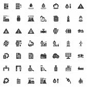Oil Industry Vector Icons Set, Modern Solid Symbol Collection Filled Style Pictogram Pack. Signs Log poster