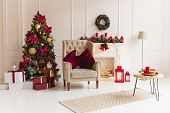 Christmas Interior With Christmas Tree And A Fireplace In Traditional Red Color. Beautiful Christmas poster